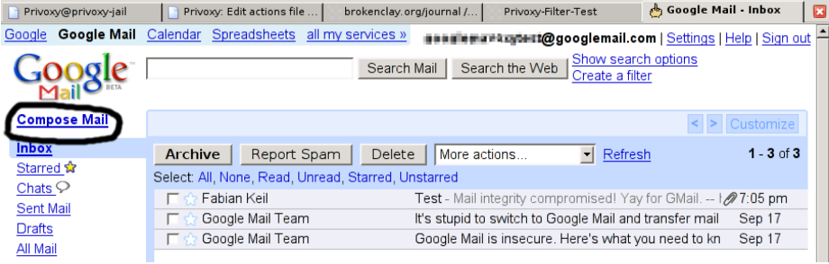 Gmail failed compose button
